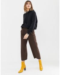 Stradivarius - High Waisted Wide Leg Pant With Button Detailing - Lyst