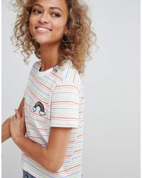ASOS - Design Crop T-shirt In Rainbow Stripe With Badge - Lyst