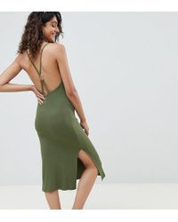 ASOS - Asos Design Tall Ring Detail Rib Midi Dress - Lyst
