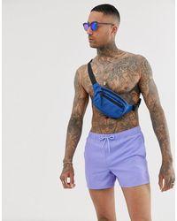 ASOS Короткие Фиолетовые Шорты Для Плавания - Синий