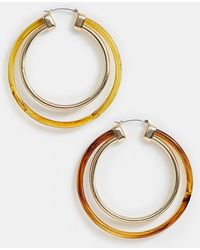 34d8d2b0e ASOS Limited Edition Xl Tortoiseshell Hoop Earrings in Brown - Lyst