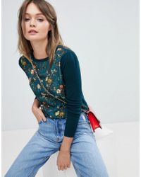 Oasis - Floral Knitted Jumper - Lyst