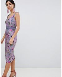 Little Mistress - Lavender Print Bodycon Dress - Lyst