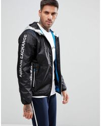 Armani Exchange - Hooded Silver Detail Jacket In Black - Lyst