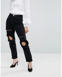 Lost Ink - Mom Jeans With Frill Knee And Rips - Lyst