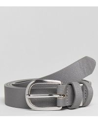 ASOS | Plus Smart Skinny Faux Leather Belt In Grey With Metal Keepers | Lyst