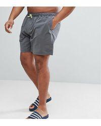 ASOS - Plus Swim Shorts In Dark Gray With Neon Yellow Drawcord Mid Length - Lyst