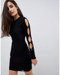 Lipsy - Button Sleeve Knitted Dress - Lyst