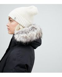 The North Face - Womens Purrl Stitch Beanie Hat In White - Lyst