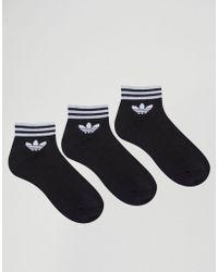 adidas Originals - Originals 3 Pack Black Ankle Socks With Trefoil Logo - Lyst