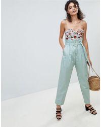 Mango - High Waist Peg Leg Trouser In Blue - Lyst