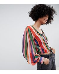 Reclaimed (vintage) - Inspired Wrap Blouse In Stripe - Lyst