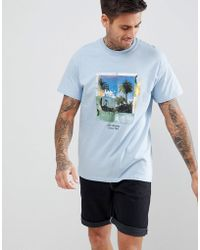 Boohoo - T-shirt With Los Angeles Print In Blue - Lyst