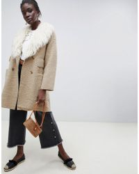 INTROPIA - Teddy Wool Coat With 70's Fur Collar - Lyst