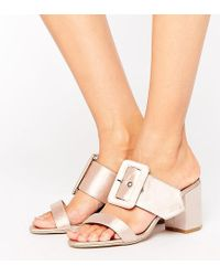 The March - Buckle Mid Heeled Mules - Lyst