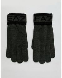 EA7 - Train Visibility Logo Gloves In Khaki - Lyst