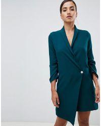 Vesper - Ruched Sleeve Asymmetric Hem Tuxedo Dress In Green - Lyst