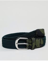 ASOS - Woven Slim Belt In Khaki With Camo Print Keeper - Lyst