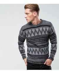 Only & Sons - Knitted Jumper With Fairisle Knit - Lyst