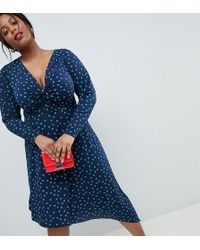 ASOS - Asos Design Curve Midi Dress In Polka Dot With Knot Front And Asymmetric Hem - Lyst
