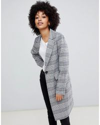 New Look - Tailored Coat In Mixed Check - Lyst