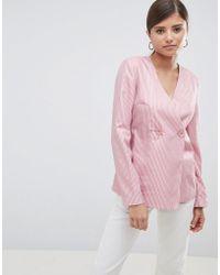 Fashion Union - Relaxed Blazer In Fine Stripe - Lyst