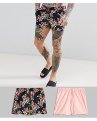 ASOS - Swim Shorts 2 Pack In Floral And Pink In Short Length - Lyst