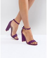 Glamorous - Purple Barely There Block Heeled Sandals - Lyst
