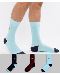 Lyle & Scott - Eagle Logo Contrast Heel Socks 3 Pack - Lyst