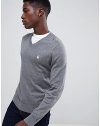 Abercrombie & Fitch - Core Icon Logo V-neck Knit Sweater In Gray Marl - Lyst