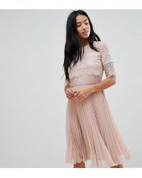 Elise Ryan Petite - High Neck Midi Dress With Pleated Skirt - Lyst
