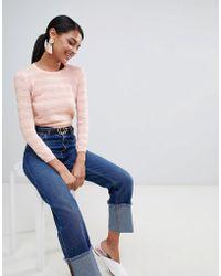 Warehouse - Stitch Detail Jumper In Pale Pink - Lyst