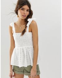 ASOS - Cami Broderie Sun Top With Shirring And Tie Shoulder Detail - Lyst