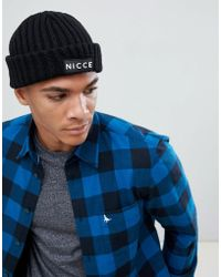 Nicce London - Nicce Beanie In Black With Logo - Lyst
