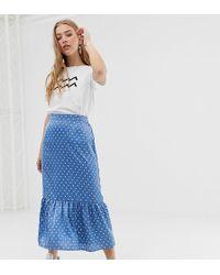 Daisy Street - Midaxi Slip Skirt In Satin Spot - Lyst