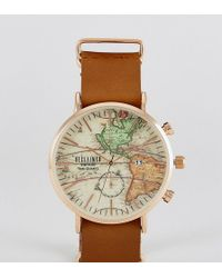 Reclaimed (vintage) - Inspired Map Leather Watch In Brown Exclusive To Asos - Lyst