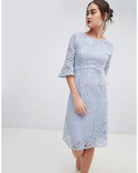 Sugarhill - Ellie Fluted Sleeve Lace Midi Dress - Lyst