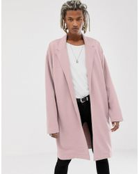 ASOS - Oversized Jersey Duster Jacket In Pink - Lyst