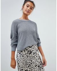 Pull&Bear - Long Sleeved Jersey Knitted Sweater In Gray - Lyst