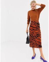 Stradivarius - Tiger Print Orange Midi Skirt - Lyst