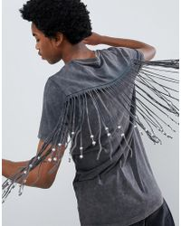 ASOS - Longline T-shirt With Back And Sleeve Beaded Fringing In Acid Wash - Lyst