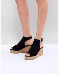 River Island - Open Toe Espadrille Wedge Shoe Boots - Lyst