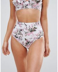 Playful Promises - Mix And Match Frill Hem Vintage Floral High Waisted Bikini Bottoms - Lyst