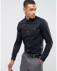 Farah - Classic Shirt In Skinny Fit With Stretch - Lyst