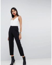 3cec3682a2 Lyst - ASOS Washed Casual Tapered Peg Trousers in Black