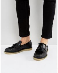 Fred Perry - X George Cox Creeper Tassel Leather Shoes In Black - Lyst