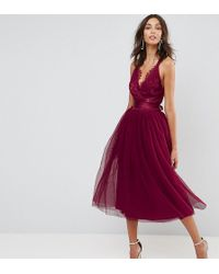 ASOS - Premium Lace Top Tulle Midi Prom Dress With Ribbon Ties - Lyst