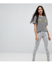 ASOS - Tres Cool Embroidered Banana Legging And Tee Pyjama Set - Lyst