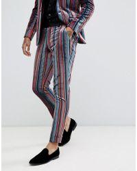 ASOS - Skinny Suit Pants In Blue And Burgundy Velvet Stripe - Lyst