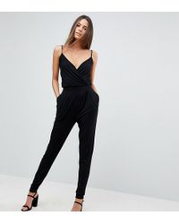 ASOS - Cami Wrap Jumpsuit With Peg Leg - Lyst